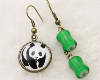 Earrings panda and bamboo