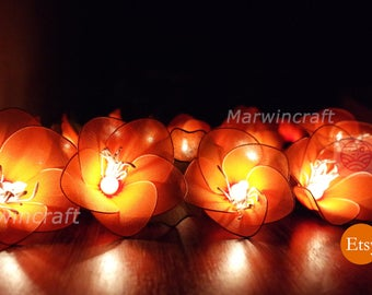 Battery or Plug 20 Orange Rain Lilly Nylon Flower Fairy String Lights Party Patio Wedding Garland Gift Home Living Bedroom Holiday Decor