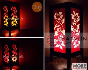 Asian Oriental Hibiscus Flower Lamp Zen Bedside Lamp Floor Table Lamp Paper Japanese Light Lamp Shades Bedroom Home Decor Resort Living Room