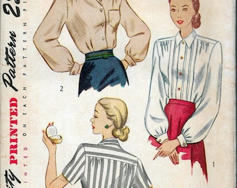 """Vintage 1948 Simplicity 2277 Blouse Sewing Pattern Size 18 Bust 36"""""""