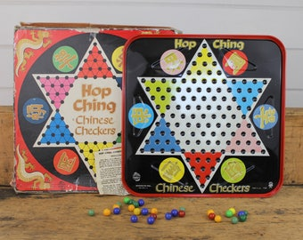 1960s Metal Chinese Checkers Board Game, Pressman Games, Hop Ching, Original Box, 1960s Board Game, Vintage Board Game, Asian Symbols, USA