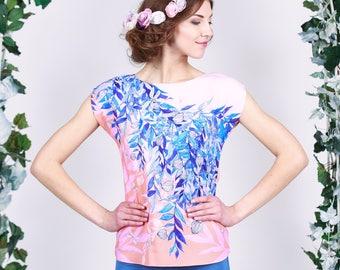 Peach Flowers - chiffon top