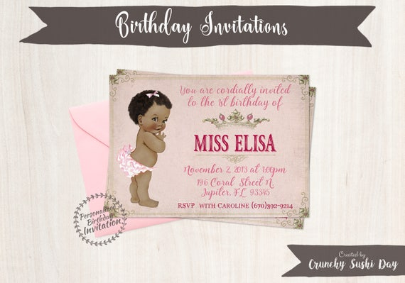 Vintage Baby Girl First Birthday Party Invitations, African, Crown, Girl Birthday Invitations, First Birthday, Printable Invitations, 106