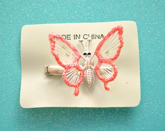 90s Red Glitter Butterfly Dead Stock Metal Hair Clip Barrette Wing Flapping Kinetic