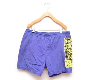 "90s Purple Mens Swim Trunks Yellow Patterned Shorts Swimsuit 5"" Inseam Medium"