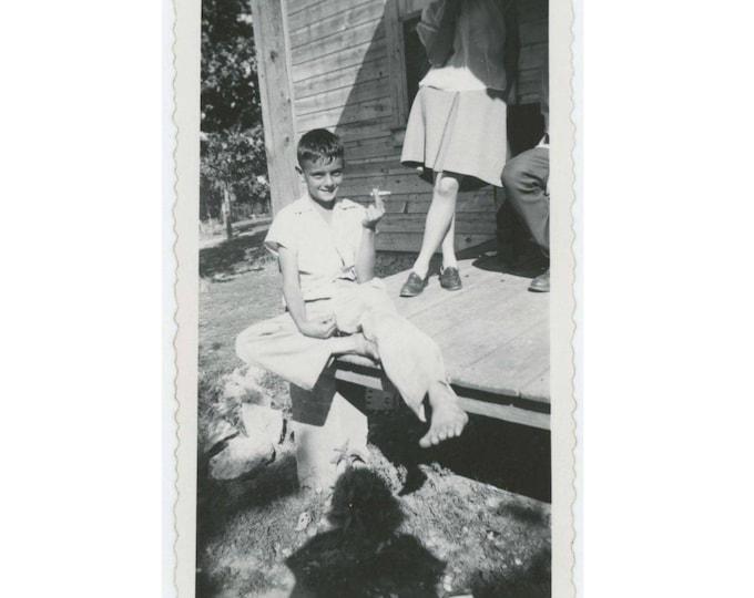 Vintage Photo Snapshot: Boy with Cigarette, c1940s (77590)