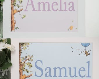 Winnie the Pooh Personalised Name Print 8x10 with mount Pink or Blue