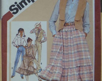 FREE SHIPPING! Simplicity 9851 Country western shirt, skirt, pants and vest sewing pattern. Size 16 UNCUT