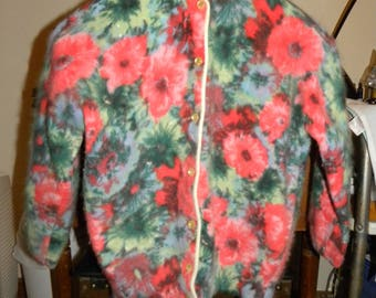 Vintage Angora Lambswool Cardigan Hand-Screen Floral Print - Angelon by darlene - Made In U.S.A.