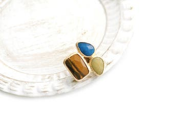 Triple Adjustable Blue and Yellow Jade, Tiger's Eye Stone Gold Plated Ring