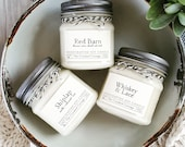 Farmhouse Candle Collection • 8 Scents • Soy Candles • 8oz Jar • Farmhouse • Shiplap • Whiskey & Lace • Cider • Red Barn • Cotton Blossom