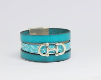 Blue leather and silver metal Cuff Bracelet.
