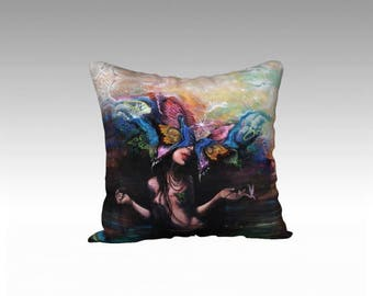 Butterfly Woman Throw Pillow - surreal art, home decor, butterfly throw pillow, spirit animal, velvet pillow, made in canada, unusual decor