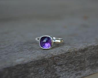Amethyst Ring, Amethyst, Purple Amethyst Ring, Sterling Amethyst, Cushion cut, Cushion Amethyst Ring, Purple, Amethyst Silver Ring