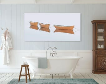 Rowboat Panoramic Canvas, Yellow Wooden Boat Photography, Classic New England Art, Upscale Nautical Home Decor, Large Rowboats Canvas Print