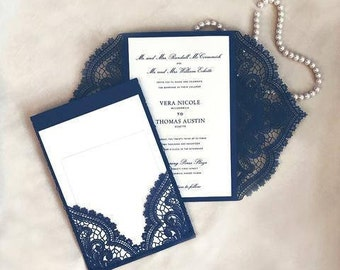 INVITATIONS - LASER CUT Gatefold with Pocket, Customize for Weddings, Showers, Birthdays, Bat Mitzvahs, Sweet 16s and more