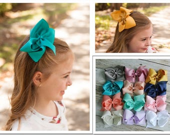 """SALE Buy 3 get 1 FREE, Back to school large bow, 5"""" hair bow, bow clips, ribbon bows, hair clip, toddler bows, school uniform bows"""