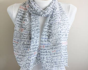 Mathematics Scarf, Mathematician Gifts, Geometry Scarf, Gift for Her