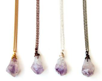 Amethyst necklace, Amethyst pendant, Amethyst jewelry, crystal necklaces, crystal jewelry, February birthstone, raw amethyst