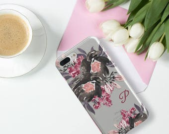 Fall iPhone SE case clear, Black and maroon roses, Womens fashion accessory Gifts Fits iPhone 5 / 5s / SE, 6 / 6s / Plus, 7 / Plus (1811)