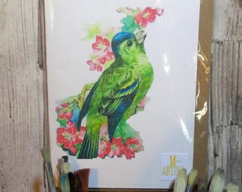 Greenfinch blank Greeting Card 21cm x 15cm A5 Recycled Card and Brown KRAFT envelope
