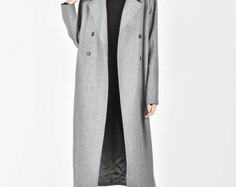 NEW Extravagant  Maxi Grey Coat / Lined Coat  Belt and side pockets / Double Breasted Wool Blend Coat/ HandMade by AAKASHA  A90143