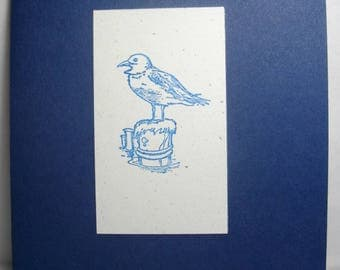 Blue Sea Bird (hand-stamped) 8-Card Box