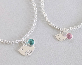 Mother Daughter Bird Bracelets, Mother Daughter Birthstone Bracelets, Mum and Daughter Matching Jewellery