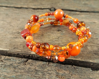 Orange Bracelet, orange jewelry, memory wire bracelet, beaded bracelet, gift for her, orange bead bracelet, orange beads, boho