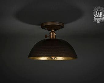 Flush Ceiling Mount | Edison Bulb Light Fixture | Oil Rubbed Bronze | Semi Flush | Small Hammered Shade