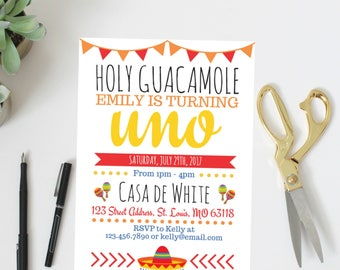 Holy Guacamole Invitation | Birthday Invitation | Fiesta Birthday Invitation | Birthday | Fiesta Party | Holy Guacamole | Birthday Party