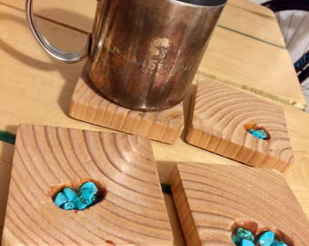 Turquoise Coasters, Wooden