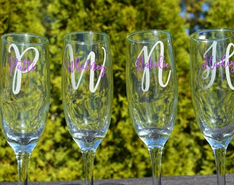 Personalized Toasting Flutes - Bridesmaid Champagne Glasses - Bridesmaid Toasting Flutes - Wedding Party Gifts - Monogrammed Champagne