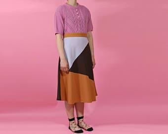 1970s style vintage skirt | wool crepe bias cut skirt | midi panelled skirt | made in england