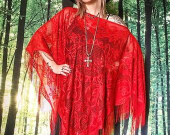 1970s Stevie Nicks Huge Scarlet Gypsy Sheer Fringe Poncho Cape