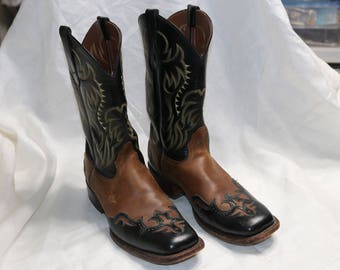 Mens Vintage Nocona Boots Cowboy Boots - Size 8D - Made in USA - Black & Brown