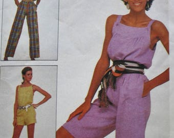 80s Jumpsuit Sewing Pattern/McCalls 7965/ Size Small