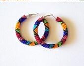 15% SALE Beaded colorful hoop earrings - Beadwork - beaded jewelry - seed beads earrings - Geometric pattern earrings