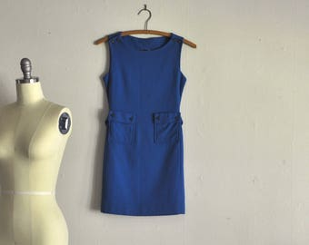 1960s dress | into the blue | vintage wool mini dress with pockets