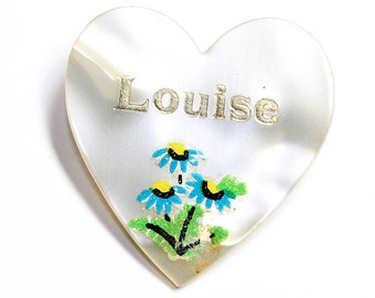 Lucite Heart Louise Name Forget Me Not Flowers Vintage Brooch (c1960s)