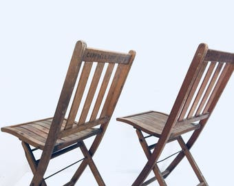 Pair Of Campbell Soup Company Vintage Wood Slat Folding Chairs, Antique  Event Seating, Advertising