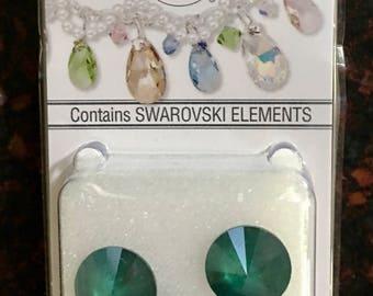 3 New Swarovski®  Crystal Passions®  Royal Green  12mm faceted rivoli (1122).