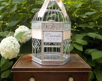 Silver Birdcage Wedding Card Box, Large Silver Hexagon Birdcage, Shower Card Holder, Wedding Cards, Shower Bird Cage Money Holder Custom