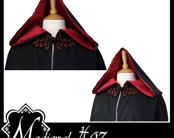 High Quality Unisex Black Poly Cotton Cloak lined with Maroon Shimmer Satin. Ideal for LARP LRP Medieval Costume. Made especially for you.