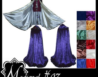 Purple Crushed Velvet Cloak lined with a Shimmer Satin of your choice. Ideal for LARP Medieval Costume Wedding Handfasting. Made To Measure.