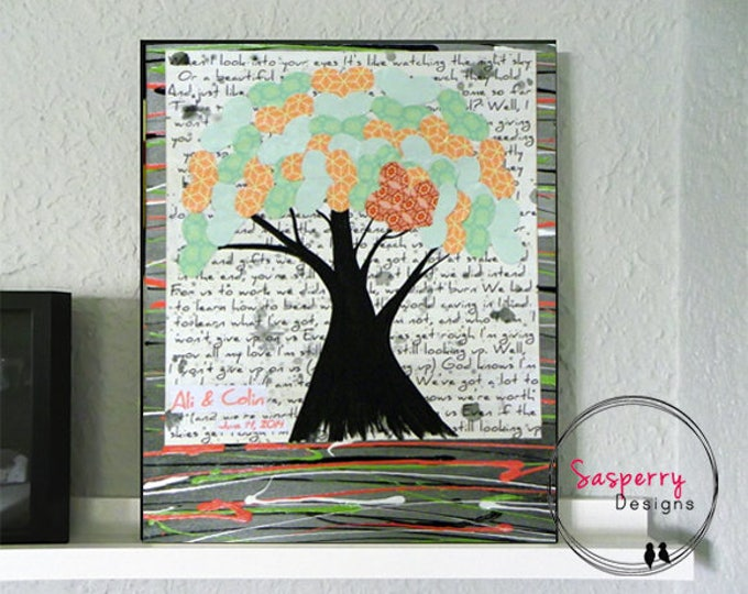 Wedding Vow Art, Song Lyric Art, First Dance Gift, Heart Tree Painting, Personalized Wedding Gift for Couples,