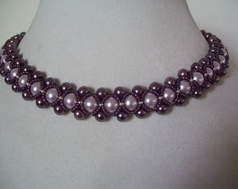 Vintage Plum and Lavender Pearl Bead Work Necklace Collar with Silver Bead Accents