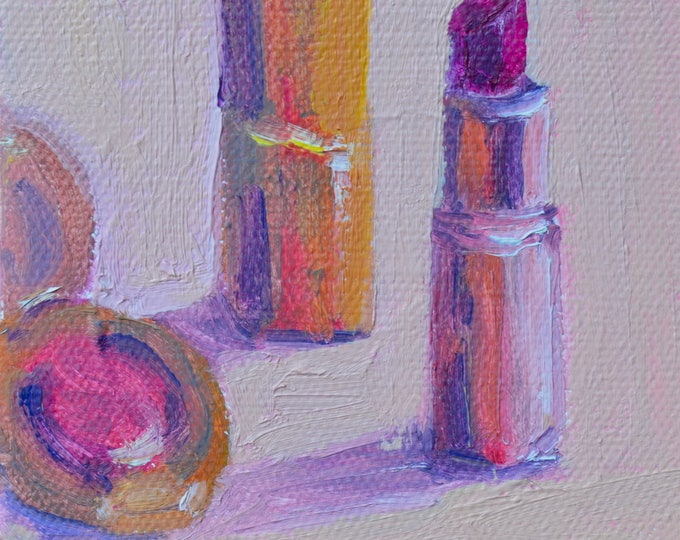 Gift for friend, Mini painting, 4 X 4 , Lipstick painting, painting of lipstick, vanity decor, bedroom, Gift under 40, Gift for her