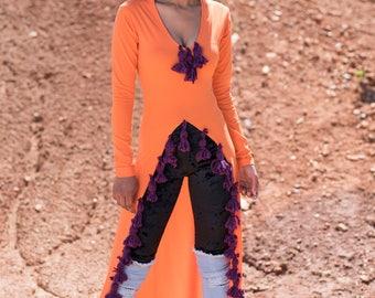 Orange V-Neck Top w/ Split and Purple Tassels