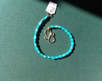 Turquoise smooth bracelet 14k gold filled item 966